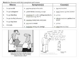 illness symptom cause matching worksheet esl efl english current