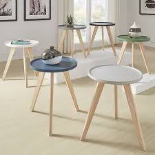 tray top end table hayden mid century round tray top end table by inspire q modern
