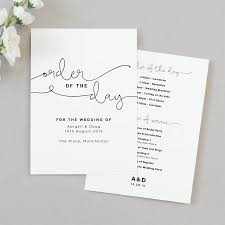 wedding day program kate wedding order of the day program cards by project pretty