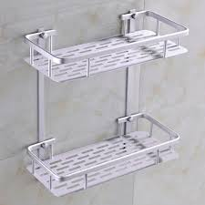 Bathroom Wall Mounted Shelves Fashion Dual Tier Bathroom Corner Shelf Basket Aluminum Alloy