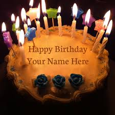 write name on happy birthday cake with candles praveen