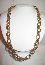 large gold link necklace images Vintage erwin pearl 24 inch chain link necklace heavy gold jpg