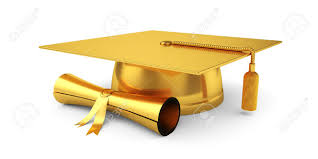 graduation cap 3d illustration of golden graduation cap with diploma isolated