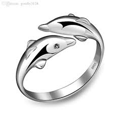 dolphin engagement ring wholesale fashion 925 sterling silver dolphin ring opening