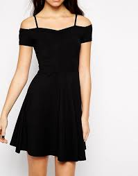 new look new look off the shoulder skater dress