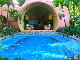 adobe style dome home in a lush rainforest vrbo pool