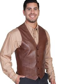mens scully chocolate brown lambskin leather western vest