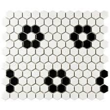 Black And White Border Tiles Hexagon Mosaic Tile Tile The Home Depot