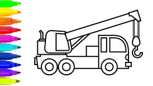 learn colors with construction truck coloring pages crane truck