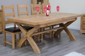 coniston rustic solid oak x leg extending dining table oak