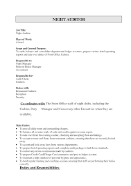 Cashier Responsibilities For Resume Night Auditor Job Description Resume Resume For Your Job Application