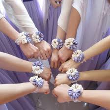 Corsage And Boutonniere For Prom Jorya Two Color Hand Purple Wrist Length Corsage Flower Corsages