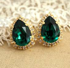 emerald green earrings emerald earrings emerald stud earrings emerald swarovski green