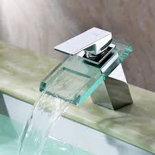 sprinkle widespread waterfall bathroom sink faucet with glass