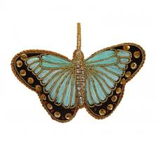 embroidered butterfly ornament turquoise home accessories