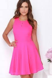 pink dress hot pink dress skater dress fit and flare dress 48 00
