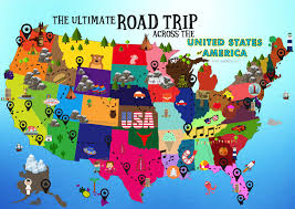 United States Of America Maps by The Ultimate Road Trip Map Of Things To Do In The Usa Hand