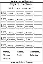 days of the week worksheets printable worksheets pinterest