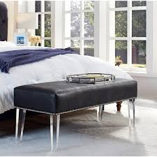 Overstock Bedroom Benches Stella Grey Croc Leather Acrylic Bench Free Shipping Today