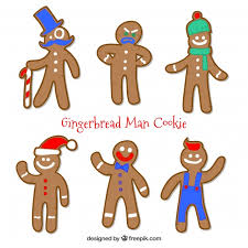 gingerbread man cookies with blue red and green elements vector