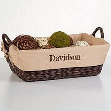 personalized basket custom name personalized lined wicker baskets for the home