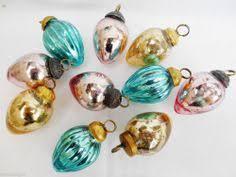 glass easter egg ornaments 6 green blue turquoise silver mini kugel style mercury glass