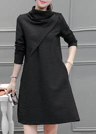 black dress sleeve high neck pocket design black dress rosewe usd