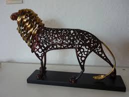 metal lion sculpture unknown artist metal lion lion sculpture mid 20th century