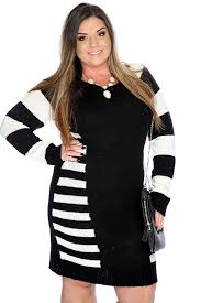 plus sweater dress black white sleeve stripe plus size sweater dress
