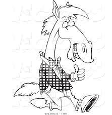vector of a cartoon horse walking upright in clothes and holding a