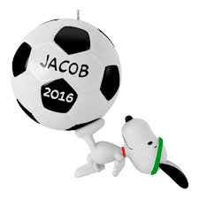 kickin with snoopy soccer ornament keepsake ornaments hallmark