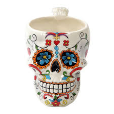 colorful day of the dead skull drinking mug home decor my sugar