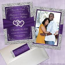 purple and silver wedding invitations purple silver wedding invitation set joined hearts