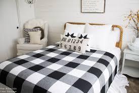 farmhouse black and white buffalo check quilt throw blanket