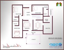3 bed room house plan with dimensions architecture kerala bedroom