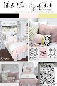 blush pink white u0026 a pop of black designer dorm bedding set