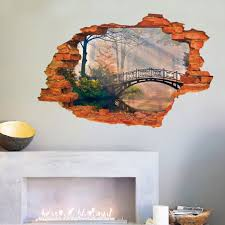 3d broken wall removable wall sticker art decal living room decor 3d broken wall removable wall sticker art decal