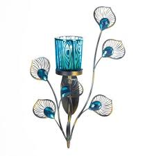 peacock turquoise peacock feather plume turquoise jeweled stem flower candle