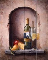 white wine vino chardonnay kitchen backsplash tile mural accent