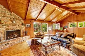log cabin house interior with vaulted ceiling luxury living