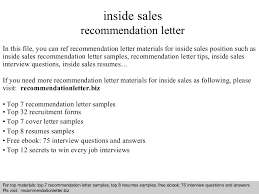 inside sales recommendation letter