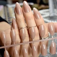light brown nail polish fashion stiletto press on nails pointed light brown ladies diy