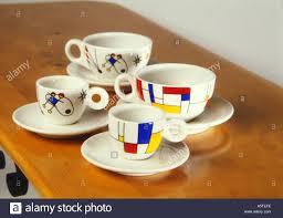 mondrian miro design coffee cups mugs short black saucers 3346