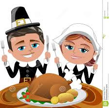 Happy Thanksgiving Pilgrims Happy Cartoon Pilgrims Eating Roast Turkey Stock Images Image
