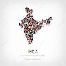 isometric set of styles people map of india country web