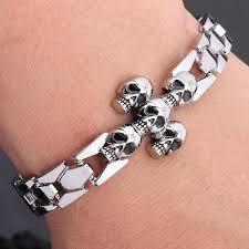 skull bracelet charm images Fashion jewelry men 39 s punk stylish skull bracelet personality jpg