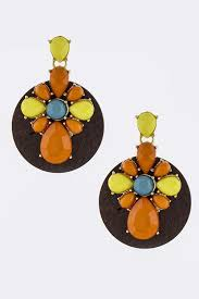 wood disk acrylic ornate with wood disk drop earrings