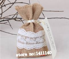 burlap gift bags free shipping vintage burlap and lace favour candy bag wedding