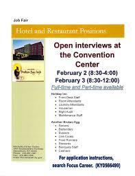 Part Time Hotel Front Desk Jobs Job Fair Hotel And Restaurant Positions Wku Owensboro Career