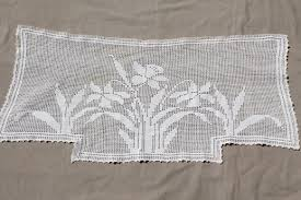Curtains Valances Styles Vintage Crochet Lace Curtain Valance Panels W Daffodils Cottage